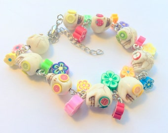 Day of the Dead Sugar Skull Adjustable Chain Bracelet Fruit and Flowers