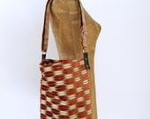 Bucket Bag/Cross Body Bag, made from salvaged upholstery fabric, vegan leather - Maine made