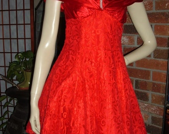XXS 80s Red Lace Cocktail Party Prom Dress Notorious Faux Rhinestone Vintage 1980s