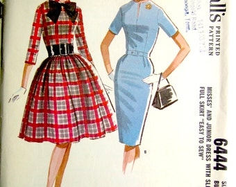"Vintage Sewing Pattern 1960's Ladies' Easy to Sew Dresses 32"" Bust McCall's 6444 - With FREE Pattern Grading E-book"