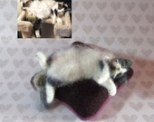 RESERVED for Whimcees -- Custom Needle Felted Fancy Cat Kitty Pincushions from Photos (5316)