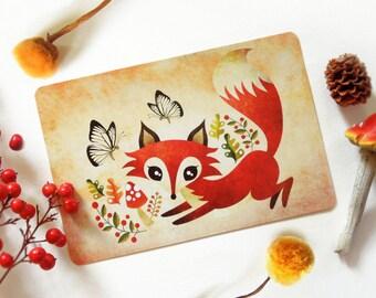 Playful Fox Postcard, Limited Edition Postcard Postcrossing
