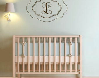 Scalloped Initial - Monogram - Wall Decals