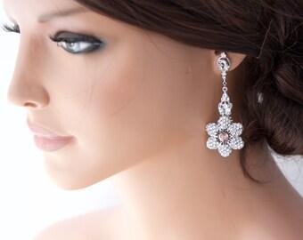 Wedding Bridal Earrings Crystal Flower Earrings Blush Pink Crystal Vintage Rose Wedding Jewelry NICKI