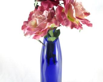 Blue Glass Vase Recycled Wine Bottle Sandblasted Graphic Wavy Design
