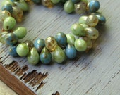 Czech glass beads drops  , translucent   opaque green mint and blue  with picasso  5mm x7mm   / 50 beads  6aZ0324