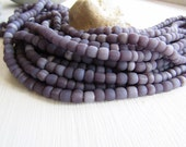 purple grey glass seed beads  , opaque matte lilac  small rustic tube barrel spacer , New Indo-pacific 3 to 6mm / 22 inch strd - 6BB1-10