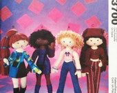 "PATTERN - McCall's Crafts 3700 14"" 'Funky Fashion Dolls and Clothing' Cloth Doll, Fabric Doll, Plush Toy Doll"