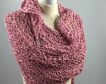 Wearable Fiber Art, Mindful Wrap-Rhodochrosite Beads on a Vegatable Dyed Pink Tussah Silk Mindfulness Mantle
