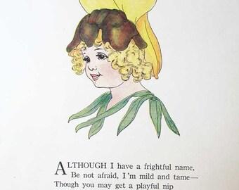 Vintage 1914 The Flower Babies Illustration Print w Verse, Penny Ross Illustration, Snapdragon Flower Baby, Original Print, Nursery Decor