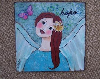 "Angel Painting Original Folk Art Angel Encaustic Painting ""Hope"" FREE SHIPPING"