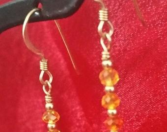 E1072 Yellow Sapphires Earrings
