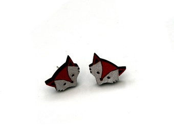 Red Fox Earrings, Wooden Fox Stud Earrings