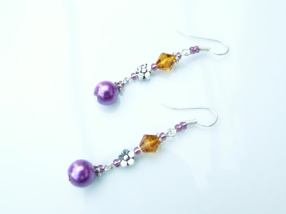 EARRINGS - Purple, Amber & Bali Drops