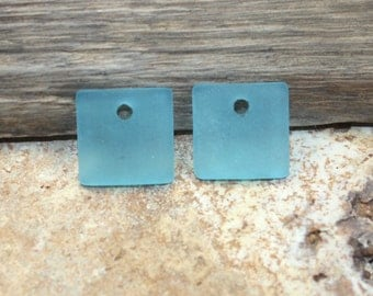 Sea Glass Square Charms Charm Beach Glass Lt Blue Frosted 18mm {2pcs} B03