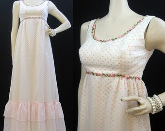 Vintage 60s 70s Dress Sheer Nylon Chiffon Flocked Polka dot Empire Gown Ethereal S