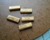 10pc vintage shamrock charm bead spacer - st patricks day brass finding - lucky destash lot