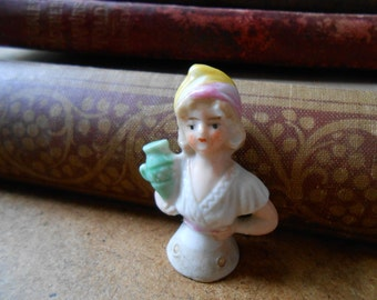 tiny half doll with jug of booze blonde beer maiden - antique doll made in germany
