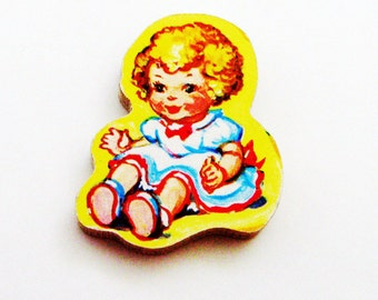 Doll Brooch - Pin / Upcycled 1960s Wood Puzzle Piece / Blond Girl Doll / Yellow, Blue, White Pinafore / Wood Brooch / Gift Under 25