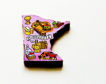 1960s Minnesota Brooch - Pin / Unique Wearable History Gift Idea / Upcycled Vintage Hand Cut Wood Jewelry / Timeless Gift Under 25