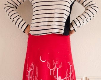 Gift for Women, Red Midi Pull on Cotton skirt, Graphic skirt, Elastic flod-over waistband skirts, Stretch skirt - Woodland animals