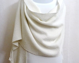 Handwoven White Chenille Shawl - Wedding Shawl - White Wedding Wrap Stole with Pearl Like Nubs - Woven Shawl, Off White Chenille Shawl