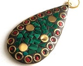 1 pc- Tribal Ethnic Tibetian Blue Red Gold Tone  Pendant-55x28 mm-(026-022GP)