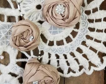 Bridal Hair Flower pins, Fabric Flower, Bridal Hair Piece, Flower Hair Pin ,Wedding Hair Flower,Hair Accessory, blush hair flowers