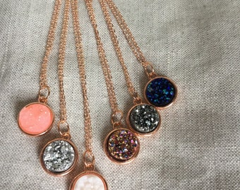 Druzy Necklace, rose gold necklace, rose gold druzy, Faux Druzy Necklace, Druzy Pendant, Boho Jewelry, Druzy Necklace
