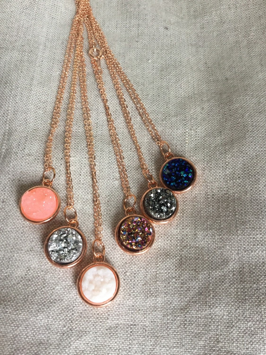 Druzy Necklace rose gold necklace rose gold druzy by ...