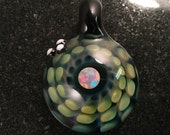Fume Glass Implosion Pendant with 6mm Opal---Majestic Glass Arts---