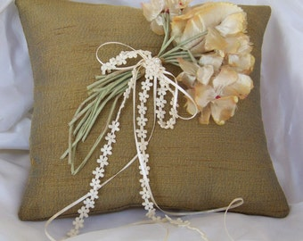 Ring Bearer Pillow with Iridescent Vintage Fabric and Vintage Flowers Gold Blue Cream