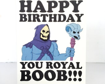 Happy Birthday Skeletor He-Man - 80s - retro - card - funny - boob funny birthday card funny birthday present funny birthday gift