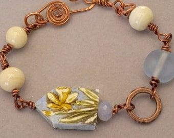 Easter Bracelet,  Pretty Floral Bracelet, Spring Daffodil Bracelet, Flower Bracelet, Yellow Daffodil Jewelry, Blue Artisan Bracelet, GIft