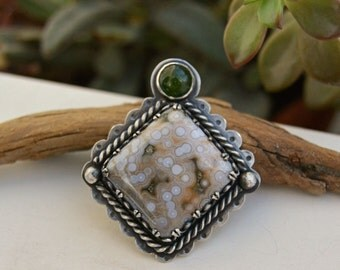 Ocean Jasper Necklace. Large Feminine Statement Necklace. Sterling Silver Cream Olive Green Stone Pendant. Artisan Jewelry.
