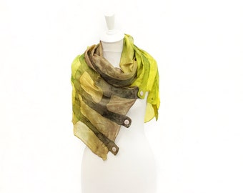 Silk scarf, Felt scarf, Felted scarf, Felted acessories, Hand painted scarf, Wool scarf, Gift For Mother, Lime Brown silk scarf, Kate Ramsey