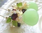 """Apple Green Chalcedony Gemstone Earrings-Opal, Garnet, Peridot-""""Cranberry Apple"""""""