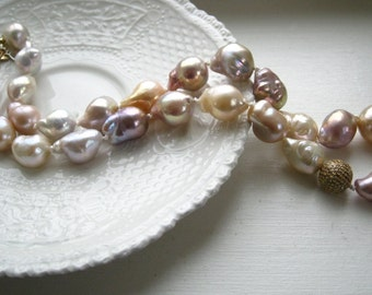 Baroque Pearl and Champagne Diamond Necklace - Hand knotted luxury pearl necklace