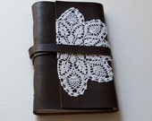 leather & lace journal - faux leather 5x7 journal