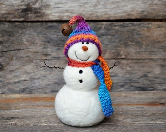 Snowman - handmade - needle felted- one of a kind -  741