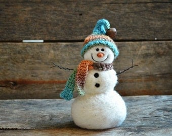 Snowman - handmade - needle felted- one of a kind -  734
