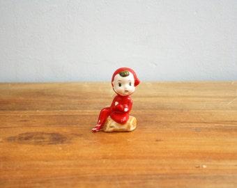 vintage 50s Christmas Pixie Elf Holiday Decor Shelf Sitter Figure Figurine