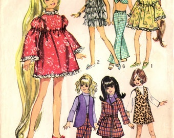 1960s Simplicity 8519 Vintage Sewing Pattern Teen Doll Mod Wardrobe, Doll Clothes