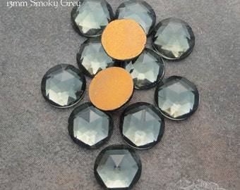Vintage Cabochons - 13 mm Facet Smoky Grey -  6 West German Faceted Glass Stones