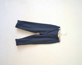1940's-50's Pinstripe Blue Wool Tailored Pants 34 x 28