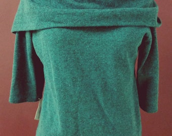 SAMPLE Cowl Hood Knit Top- Teal Sweater three Quarter Sleeve- Winter Steampunk - READY to Ship XS,  M