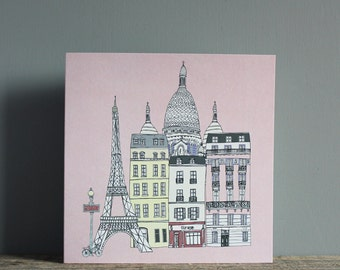 Paris Greetings Card - Paris Wedding Card - Anniversary Card - Engagement Card - Eco Recycled Card - Valentine's Card
