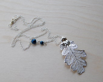 Medium Fallen Real Silver Oak Leaf Necklace |  REAL Oak Leaf Pendant Necklace | Silver Forest Oak Charm Necklace | Nature Jewelry
