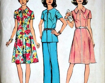 Misses' Dress Or Top And Pants, Vintage 70's Simplicity 6342 Sewing Pattern, Size 20 1/2, 43 Bust, Uncut FF, Look Slimmer Plus Size, Retro
