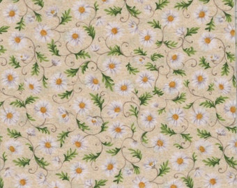 "Daisy Fabric Remnant - ""Scent-I-Mints"" by Hoffman of California - 13"" x 44"""